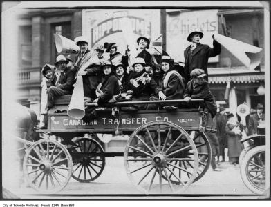 Apparently piling onto wagons and cars was a way for Torontonians to celebrate the end of the war.