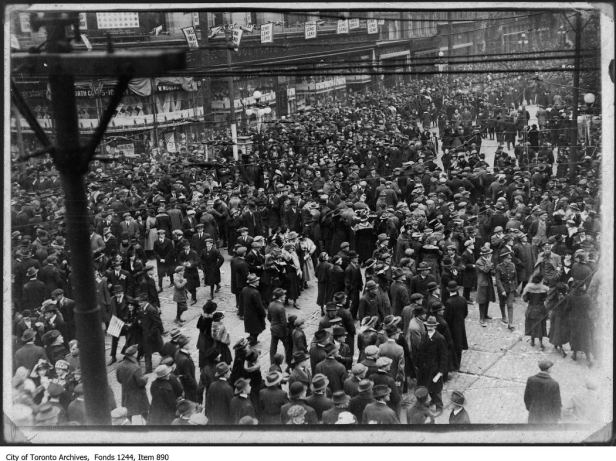 Celebrations at Yonge and Queen Street in Toronto.