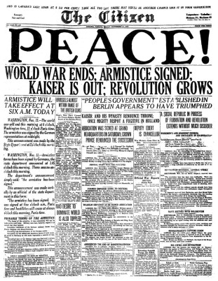 Front page of the Ottawa Citizen on November 11, 1918.