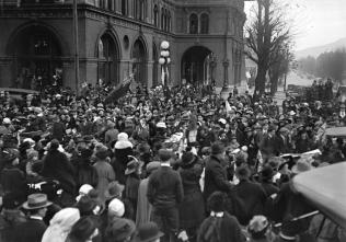 British Columbians celebrating the Armistice.