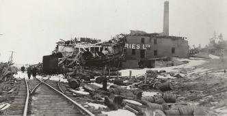 The ruins of Army & Navy Brewery operated by Halifax Breweries Limited at Turtle Grove, Dartmouth. The manager and eleven employees were killed.