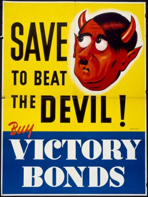 Hitler depicted as the devil was very popular in Allied propaganda.