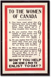 Rather, women-geared propaganda was largely about men, either getting them to enlist...