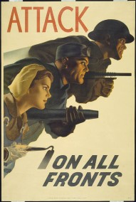 This image depicts a solider with a machine gun, an industrial worker with a rivet gun, and a farmer with a hoe. Remember all those posters to increase enlistment? Well by 1943, the size of our armed forces threatened to deplete workers in essential homeland industries/agriculture. The message was that home front work was just as valuable as those overseas.
