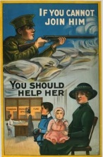 The image of families was popular in WW1 propaganda. Behind the mother is a Canadian Patriotic Fund office, which was an organization that raised money to support soldiers' families.