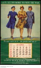 This image is from a calendar; the proceeds went towards the war effort. It depicts a member of the Women's Royal Canadian Naval Service; a member of the Canadian Women's Army Corps; and a member of the Women's Royal Canadian Air Force. The message is pretty clear, the more women who join the effort, the faster we'll win.
