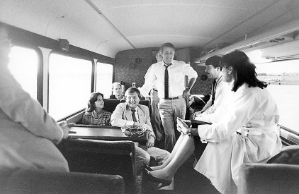 """Brian Mulroney speaks with staff on his bus during the 1984 federal election campaign."" (Ottawa Sun). He defeated the Liberals, led by Prime Minister John Turner, and won the most seats in Canadian history."