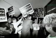 Jean Chretien deals with fans and hecklers during the 1993 General Election. Chretien's Liberals won and the previously governing Progressive Conservative party went from 156 seats to a measly 2 seats---the worst defeat of a governing party in the Western world.