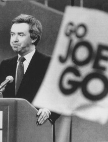 Joe Clark at a campaign rally during the 1979 General Election. He went on to defeat Trudeau's Liberals, but his minority government fell a year later and Trudeau resumes being Prime Minister for another four years.