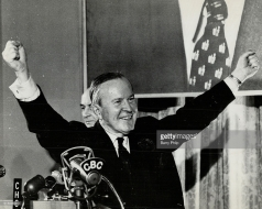 Lester B Pearson during the 1965 General Election. Pearson was re-elected with a second minority, defeating Diefenbaker's Progressive Conservatives.