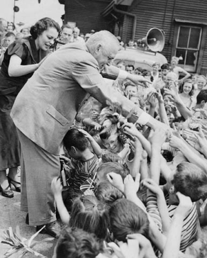 "Library and Archives Canada titled this as ""Prime Minister Louis St. Laurent with children, probably during election campaign"" so that's good enough for me to include it here! Ah, politicians paying attention to youth. What a novel idea. St. Laurent was re-elected with a majority)."