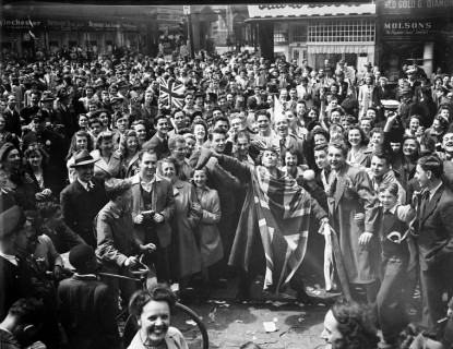 Probably the only time you'll ever see a French Canadian with the Union Jack draped over them. Montrealers poured into the streets to celebrate VE-Day.