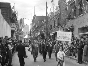 A parade was held in Montreal's Chinatown in celebration of VJ-Day.