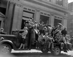 Vancouverites celebrate VE-Day on May 7, 1945.
