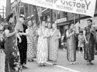 The Chinese Women Association in Vancouver celebrate VJ-Day during a parade