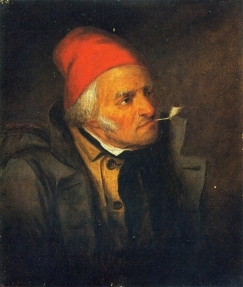 Man with Red Hat and Pipe