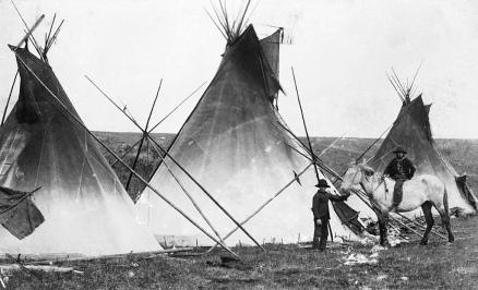 Sarcee (Tsuu T'ina) tipis, west of Calgary, Alberta. (A. Ross, 1886-1889).