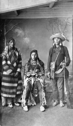 Three Young Blackfoot Men (A. Ross, 1887)