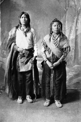 Two of the first pupils at the Blackfoot Anglican School. (A. Ross, 1886).