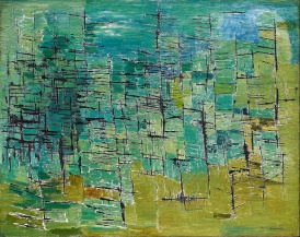 Kazuo Nakamura (1926-2002) was born in Vancouver and was a prisoner in a BC internment camp during WW2. He trained under Hortense Gordon in Hamilton before moving to Toronto. He stands out from the other P11 members for his more quiet, somber paintings. He used simpler structures, monochromatic colors, and his work shows a love of science and math through his usage of patterns, linear perspectives, and processes.