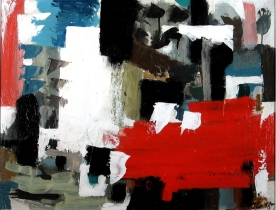 """Jack Bush (1909-1977) was born in Toronto and was originally heavily influenced by the Group of Seven. After being exposed to American abstract expressionists in 1950 however, he completely changed his style. He switched to large abstract paintings while in P11. Later, he would """"refine his palette"""" and this work became internationally famous. He is known for his """"muted, glowing colours that appear to be absorbed by the canvas."""" (Thielsen Galleries/Nowell)."""