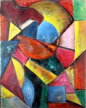 Hortense (Mattice) Gordon (1886-1961) was born in Hamilton, Ontario, and was the oldest member of P11. She painted abstracts as early as 1930 and worked as a teacher for much of her life. She liked to travel and study in France during her summers off. Her style focused on geometric abstractions and she was a mentor to the younger P11 members.