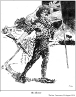 A Canadian farmer drops his scythe and picks up a rifle and the Union Jack instead; choosing war over his work.