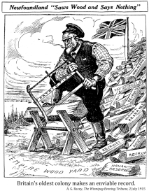 """A stonic Newfoundland farmer saws wood. Behind him is a pile of wood that say words like """"recruits"""" and """"naval reserves."""""""