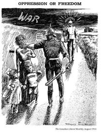 """A soldier with the word 'Militarism' on his chest pushes aside a mother and her tow children. They bare the names, """"British Liberty,"""" """"Humanitarism,"""" and """"Democracy."""" Behind them is another German soldier. This time with the word """"autocracy"""" above his head."""