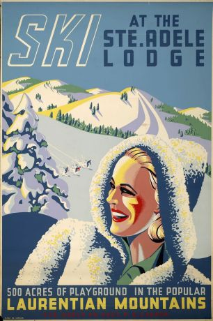 """Most vintage Quebec ads depict the province as a """"Winter Wonderland"""" and often include someone skiing. This one focuses on the Laurentian Mountains."""