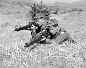Two Canadian Snipers lie low on the grass and aim at an unknown target