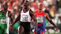 Donovan Bailey (with probably my favorite gold medal reaction face ever) won the 100m race at the 1996 Atlanta Games, proving that you don't need drugs to win. It would be another 20 years before Canada would medal at this event again. Andre De Grasse won bronze in Rio.