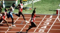 Ben Johnson raises his arm as he wins the 100m race at the 1988 Seoul Games. His victory was short-lived. 3 days he was disqualified for doping. Not only did he lose his gold, but his bronze medals from the 1984 Los Angeles Games were taken away too.