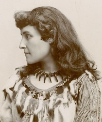 Emily Pauline Johnson aka Tekahionwake (1861-1913) - A Canadian writer, poet, and entertainer, her work celebrated her indigenous heritage (her father was a Mohawk chief) and drew from her English background (mother's side of the family) as well. Her poems and short stories which focused on Canadian culture made her a well-known ambassador for Canada. Between 1892 and 1910, Johnson did speaking tours across Canada, the United States, and England. Although there is criticism of her work, Johnson is still seen as an early and important contributor to Indigenous and Canadian literature.