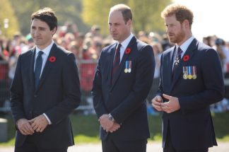 Prince Minister Trudeau (left), Prince William, and Prince Harry