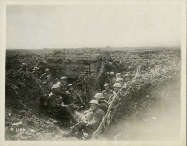 Canadian soldiers in a captured German machine-gun emplacement, Battle of Vimy Ridge, April 1917.