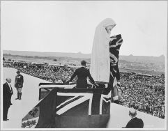 King Edward VIII unveiling the figure Canada Bereft on the Vimy Ridge Memorial