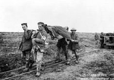 Bringing in wounded Canadian soldiers from the battlefield (Vimy Ridge)