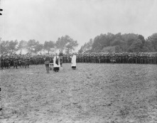 Canadians hold Dominion Day service in France. July 1st, 1917.
